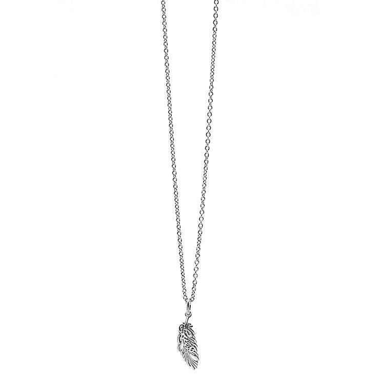 Guess Rhodium Plated Silver Tone Feather Drop Pendant - Product number 2852829