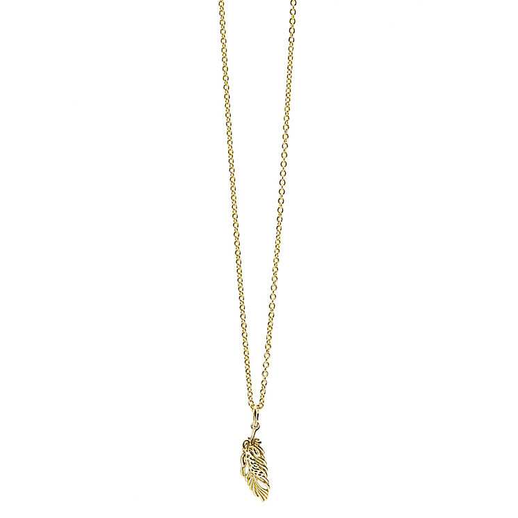 Guess Yellow Gold Plated Feather Drop Pendant - Product number 2852861