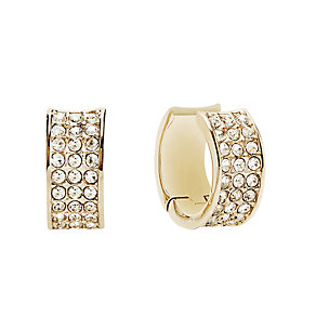 Guess Yellow Gold Plated Crystal Set Hoop Earrings - Product number 2852993