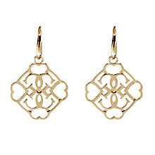 Guess Yellow Gold Plated Linked Logo Drop Earrings - Product number 2853078