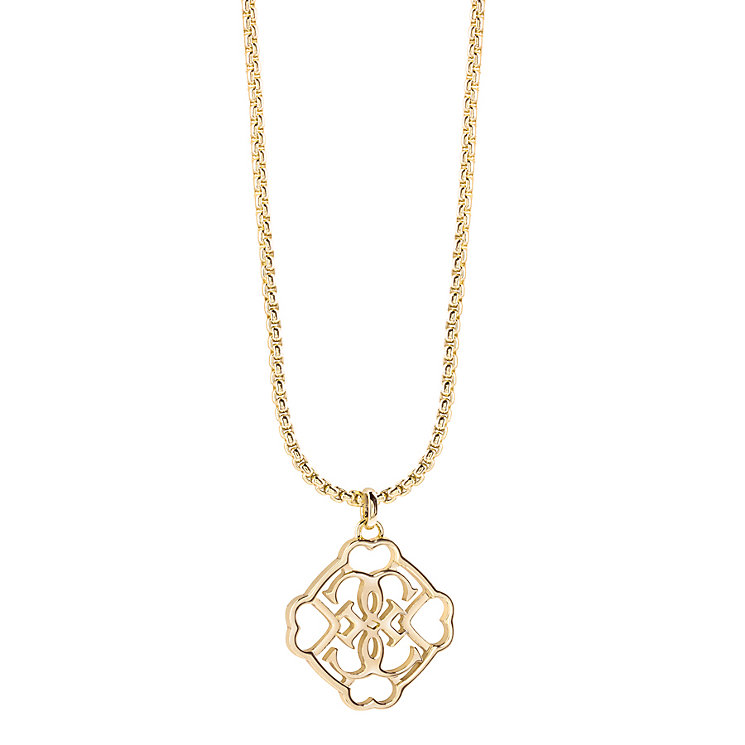 Guess Yellow Gold Plated Linked Logo Drop Pendant - Product number 2853086