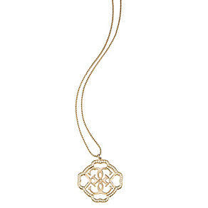 Guess Yellow Gold Plated Crystal Linked Logo Drop Pendant - Product number 2853094