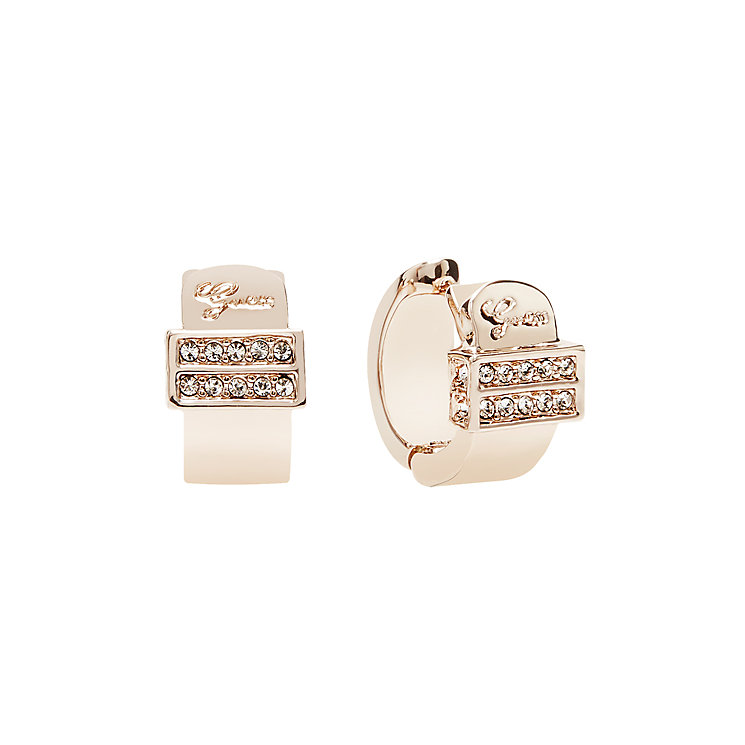 Guess Rose Gold Plated Absolute Crystal Set Hoop Earrings - Product number 2853140