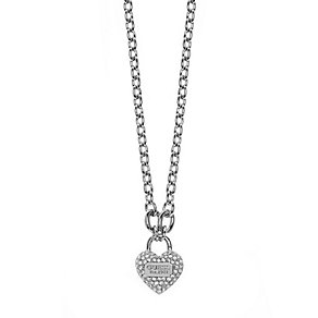 Guess True Love Rhodium Plated Crystal Set Heart Pendant - Product number 2853191
