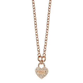 Guess True Love Rose Gold Plated Crystal Set Heart Pendant - Product number 2853213