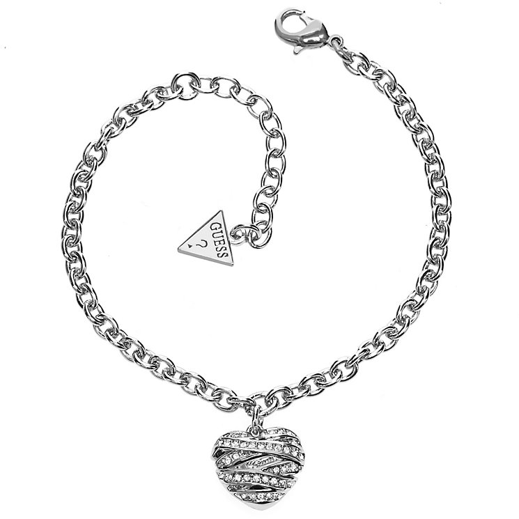 Guess Wrapped With Love Rhodium Plated Heart Charm Bracelet - Product number 2853221