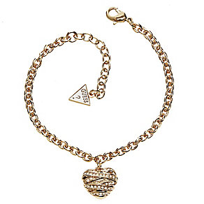 Guess Wrapped With Love Yellow Gold Plated Heart Bracelet - Product number 2853248