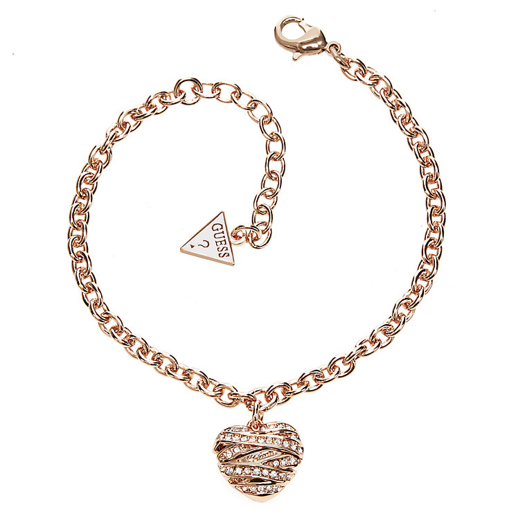 Guess Wrapped With Love Rose Gold Plated Heart Bracelet - Product number 2853256