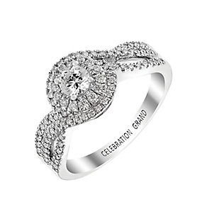 Celebration Grand 18ct White Gold Double Halo Diamond Ring - Product number 2853876