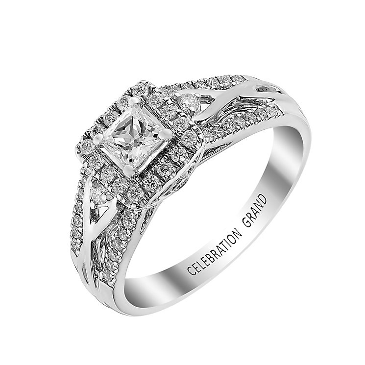 Celebration Grand 18ct White Gold Princess Cut Diamond Ring - Product number 2855267