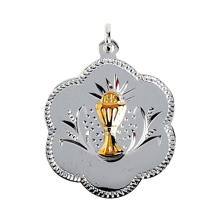 Cailin Sterling Silver Flower Shaped Communion Medal Pendant - Product number 2858932