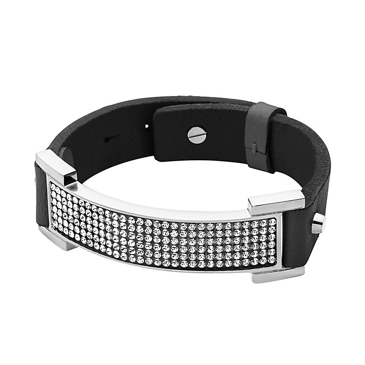 Dyrberg Kern Alva Silver Tone Crystal Black Leather Bracelet - Product number 2862875
