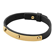 Dyrberg Kern Kaya Yellow Gold Tone Black Leather Bracelet - Product number 2862921