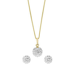 Evoke Silver & 9ct Gold Crystal Ball Earring & Pendant Set - Product number 2863936