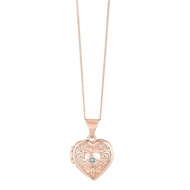 9ct Rose Gold Heart Shaped Engraved Diamond Locket - Product number 2864304