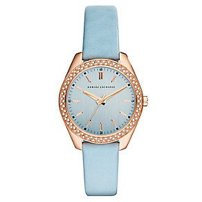 Armani Exchange Ladies' Rose Gold Plate Blue Leather Watch - Product number 2865912