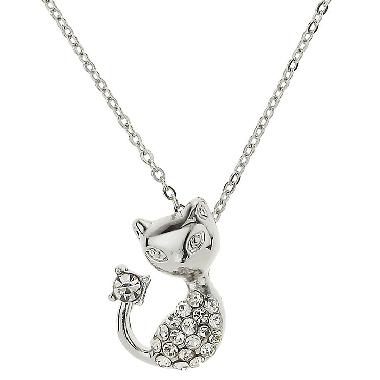 Mikey Silver Tone Diamante Cat Necklace - Product number 2865955