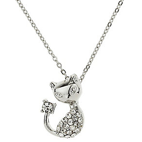 Mikey Silver Tone Diamante Dog Necklace - Product number 2865955