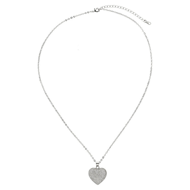 Mikey Silver Tone Crystal Set Heart Pendant - Product number 2865963