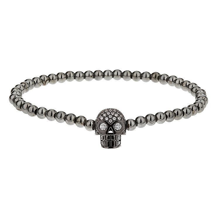 Mikey Grey Bead & Crystal Set Skull Bracelet - Product number 2865971