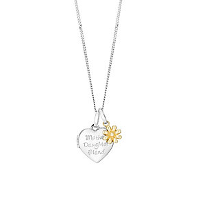 Silver & 9ct Gold Mother Daughter Friend Heart Locket - Product number 2866021