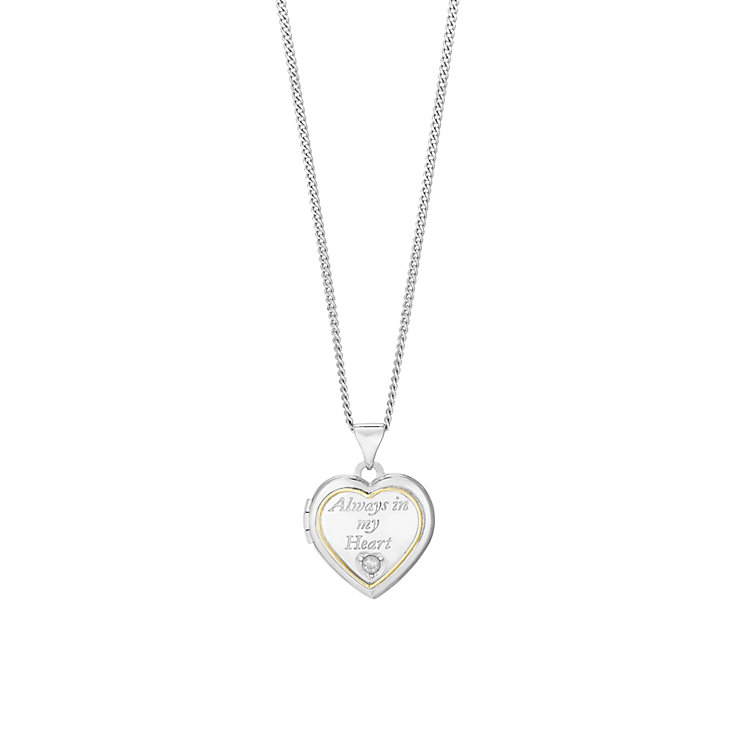 Silver & 9ct Gold cubic Zirconia Always In My Heart Locket - Product number 2866048