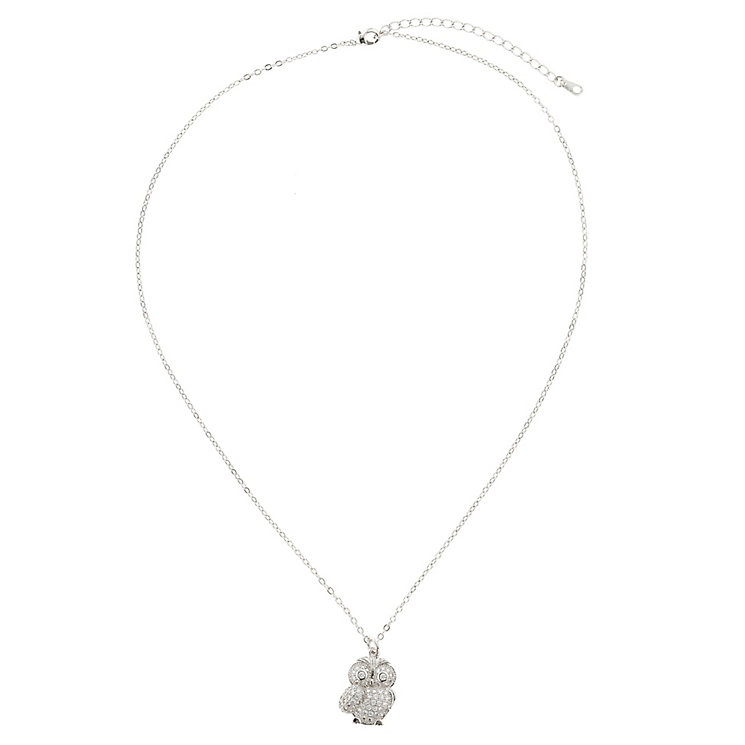Mikey Silver Tone Diamante Owl Necklace - Product number 2866072