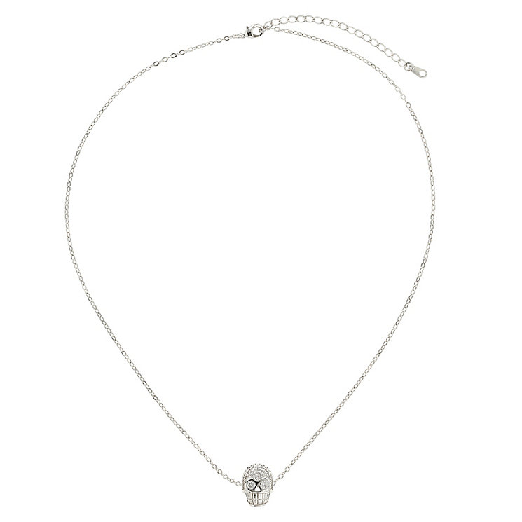 Mikey Silver Tone Diamante Skull Necklace - Product number 2866080