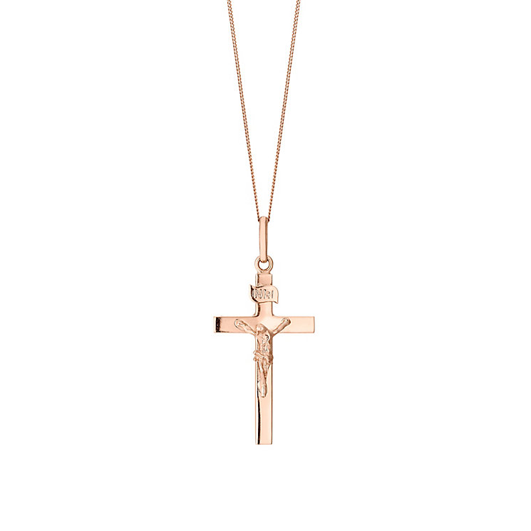 9ct Rose Gold Crucifix Pendant - Product number 2866110