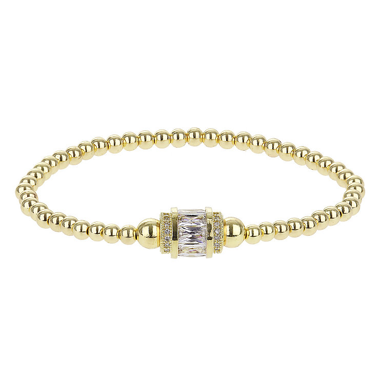 Mikey Yellow Gold Tone Beaded Crystal Set Bracelet - Product number 2866129