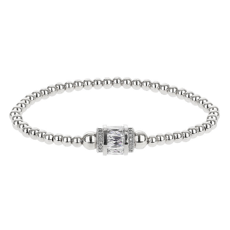 Mikey Silver Tone Beaded Crystal Set Bracelet - Product number 2866145