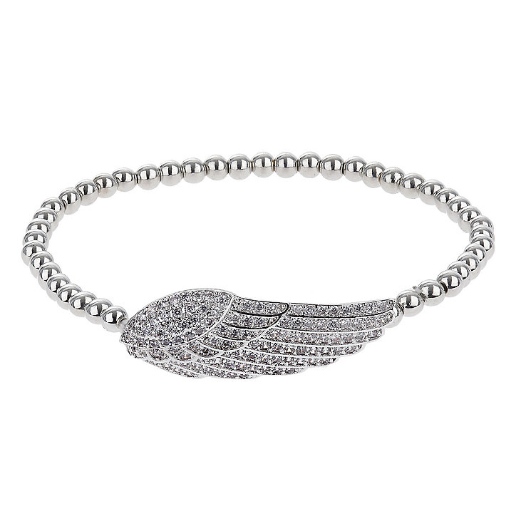 Mikey Silver Tone Beads & Crystal Set Feather Wing Bracelet - Product number 2866153