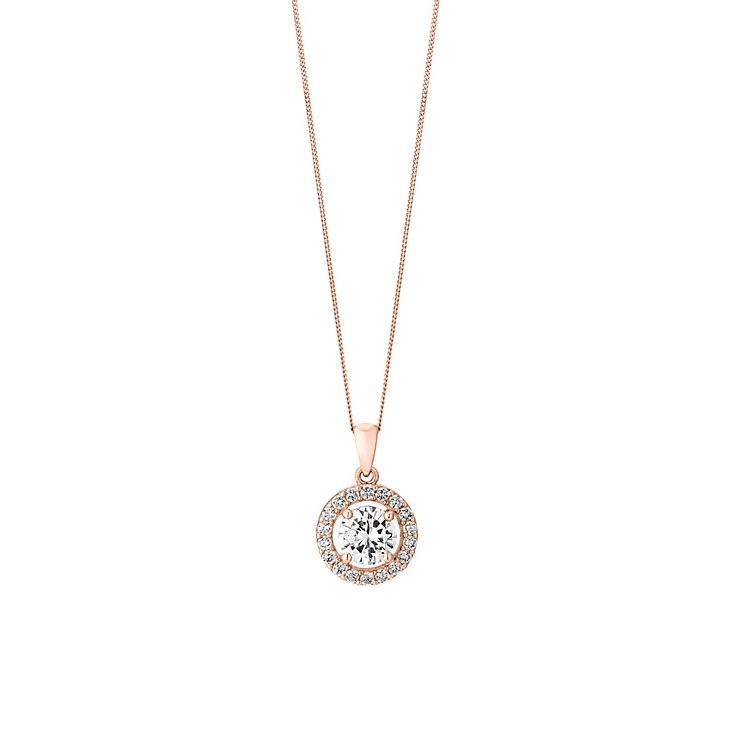 9ct Rose Gold & Cubic Zirconia Halo Solitaire Pendant - Product number 2866188
