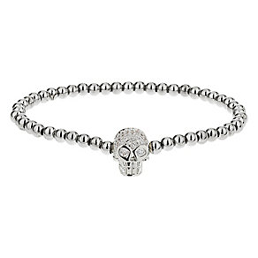 Mikey Silver Tone Bead & Crystal Set Skull Bracelet - Product number 2866196