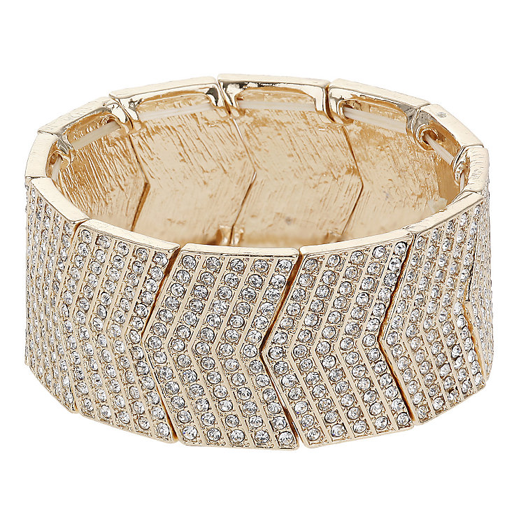 Mikey Rose Gold Tone Crystal Set Arrow Link Cuff Bracelet - Product number 2866242