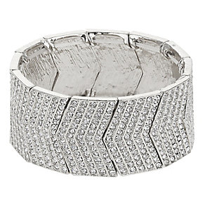 Mikey Silver Tone Crystal Set Arrow Link Cuff Bracelet - Product number 2866250