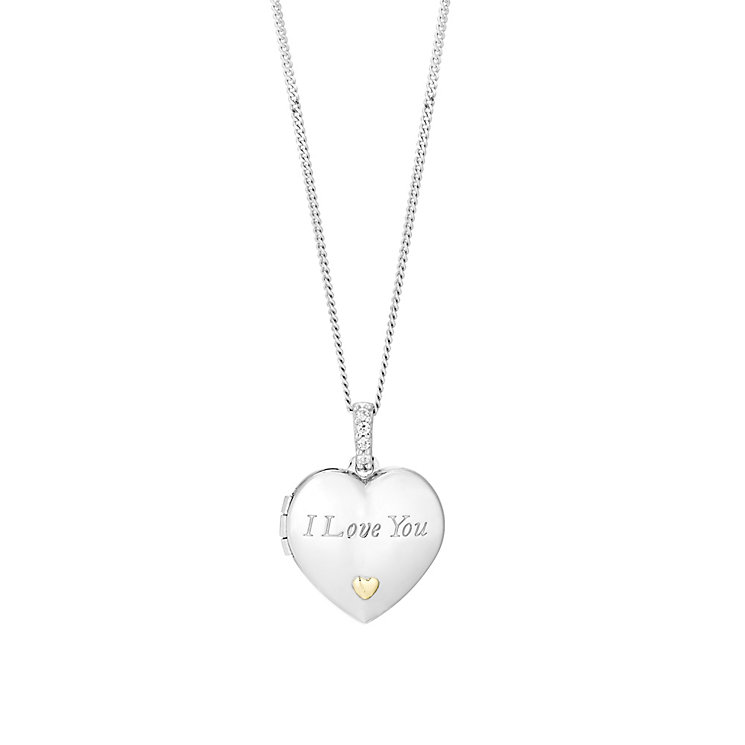 Silver & 9ct Gold Cubic Zirconia I Love You Locket - Product number 2866269