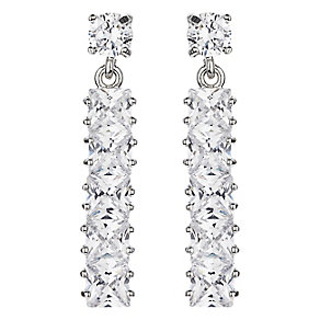 Mikey Silver Tone Crystal Set Slim Drop Earrings - Product number 2866331
