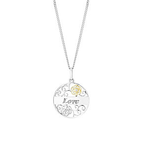 Silver & Yellow Gold Cubic Zirconia Love Round Pendant - Product number 2866420