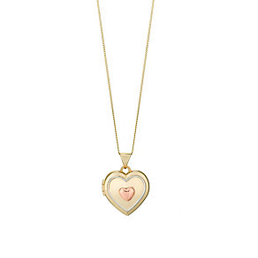 Gold & Rhodium Three Colour Heart Shaped Locket - Product number 2866439
