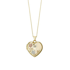 Gold & Rhodium Flower Design Heart Shaped Locket - Product number 2866447