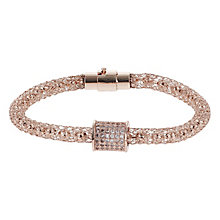 Mikey Rose Gold Tone Mesh & Crystal Set Barrel Bracelet - Product number 2866471