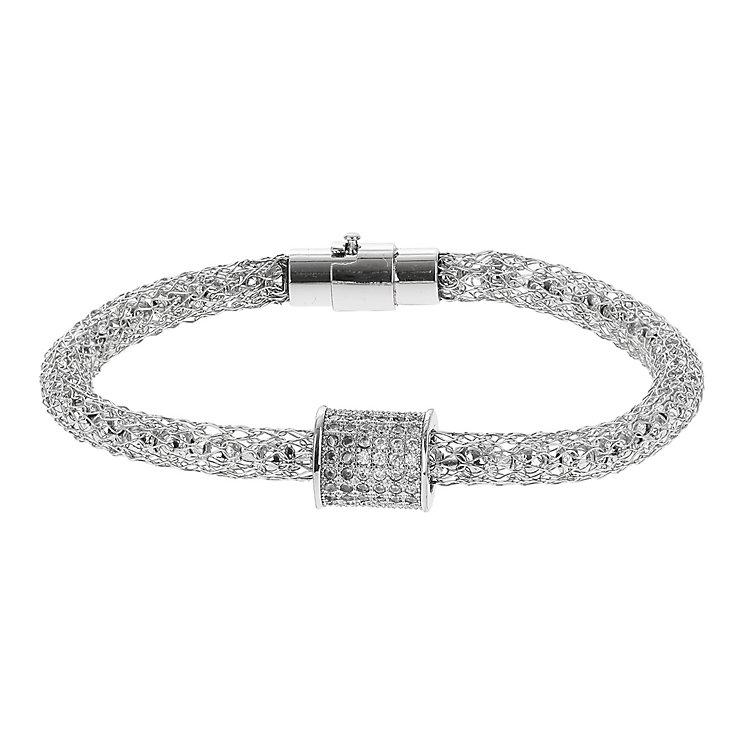 Mikey Silver Tone Mesh & Crystal Set Barrel Bracelet - Product number 2866498