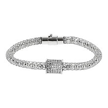 Mikey Silver Tone Mesh & Crystal Set Barrel Bracelet - Product number 2866498