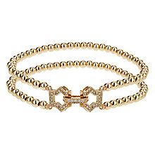 Mikey Yellow Gold Tone Beaded Crystal Set Art Deco Bracelet - Product number 2866528