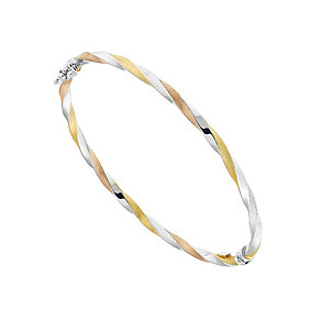 9ct Three Colour Gold Twist Hinged Bangle - Product number 2866595