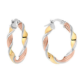 9ct Three Colour Gold Twist Creole Hoop Earrings - Product number 2866609