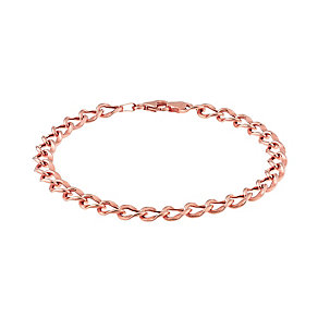 9ct Rose Gold Curb Fancy Oval Chain Bracelet - Product number 2866633