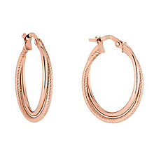 9ct Rose Gold Double Twist Creole Hoop Earrings - Product number 2866692