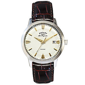 Rotary men's stainless steel brown leather strap watch - Product number 2866854